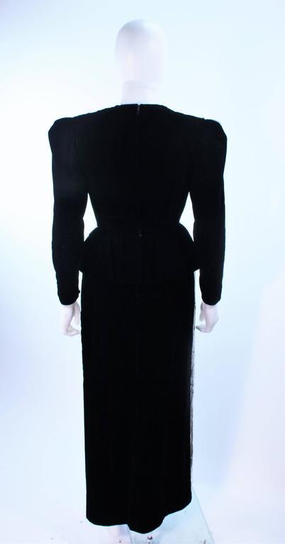 ESTEVEZ Silver Sequin and Velvet Gown Peplum Size 2 For Sale 5