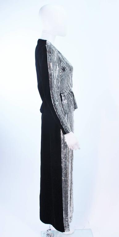ESTEVEZ Silver Sequin and Velvet Gown Peplum Size 2 For Sale 4