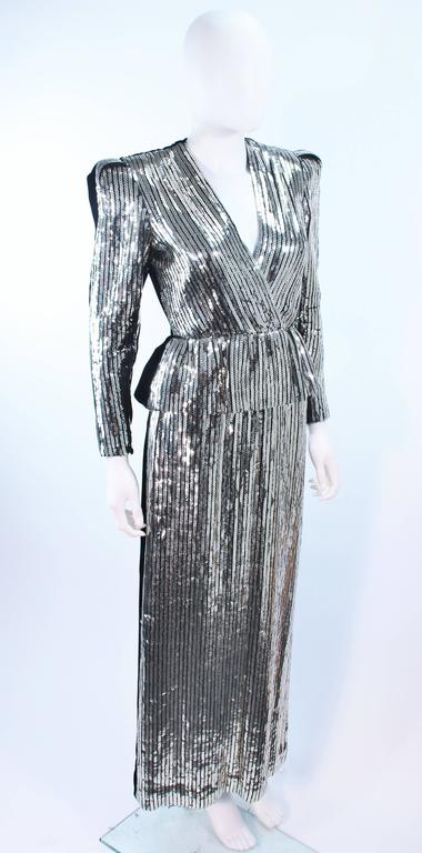 ESTEVEZ Silver Sequin and Velvet Gown Peplum Size 2 For Sale 1