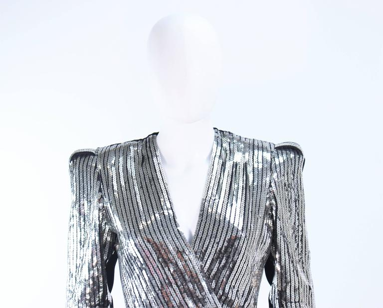 Women's ESTEVEZ Silver Sequin and Velvet Gown Peplum Size 2 For Sale