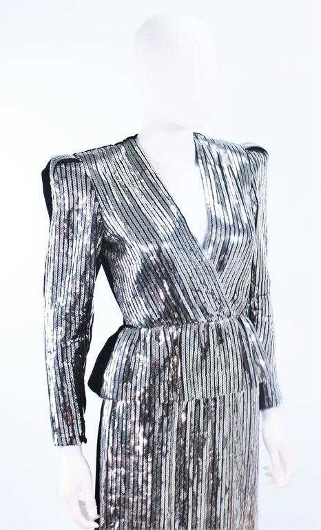 ESTEVEZ Silver Sequin and Velvet Gown Peplum Size 2 For Sale 2