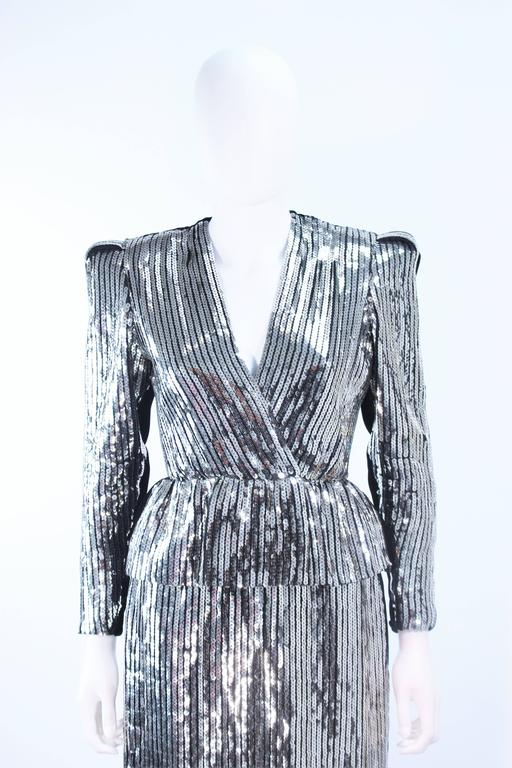 ESTEVEZ Silver Sequin and Velvet Gown Peplum Size 2 In Excellent Condition For Sale In Los Angeles, CA