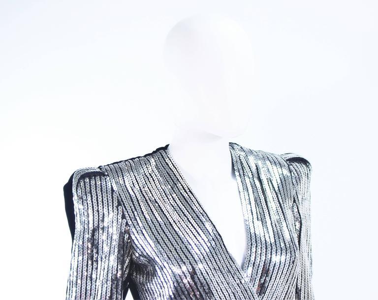ESTEVEZ Silver Sequin and Velvet Gown Peplum Size 2 For Sale 3