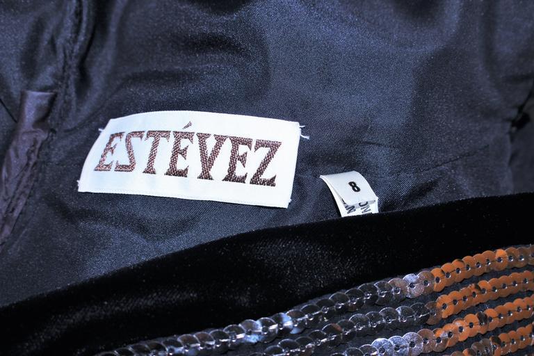 ESTEVEZ Silver Sequin and Velvet Gown Peplum Size 2 For Sale 6