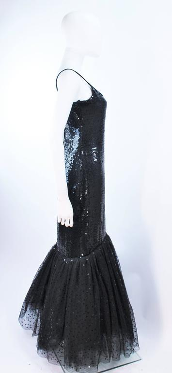 JILL RICHARDS Black Sequin Gown with Tulle Sequin Hem Size 4 For Sale 3