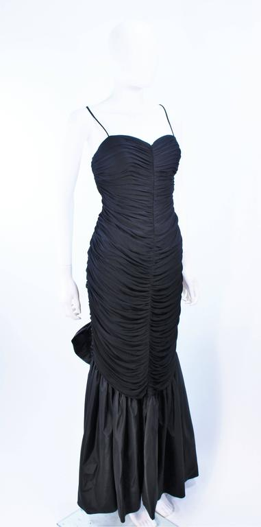 JILL RICHARDS Black Ruched Gown with Satin Flare Hem Size 8 For Sale 1