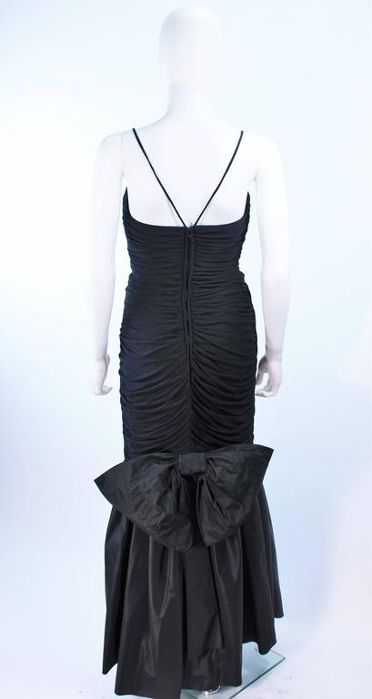 JILL RICHARDS Black Ruched Gown with Satin Flare Hem Size 8 For Sale 5