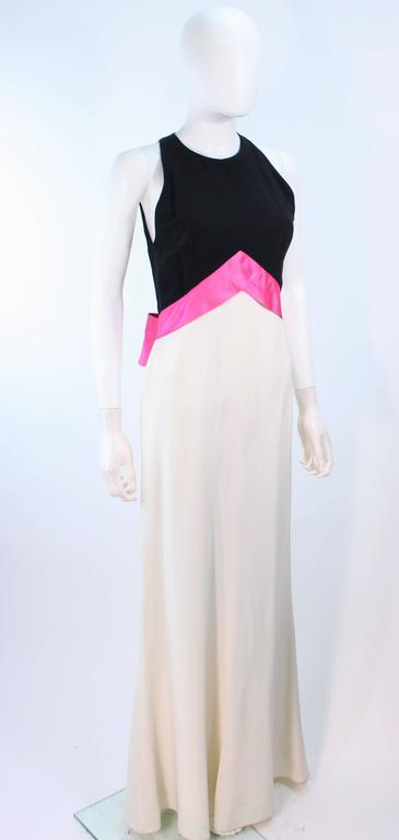 Women's ELIZABETH ARDEN Black Pink Cream Gown with Satin Bow Bias Skirt Size 8  For Sale