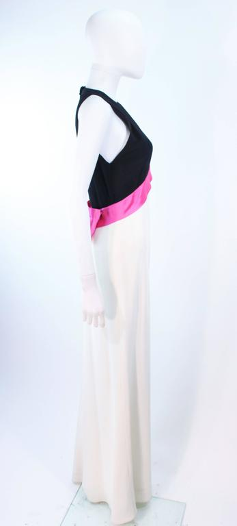 ELIZABETH ARDEN Black Pink Cream Gown with Satin Bow Bias Skirt Size 8  For Sale 2
