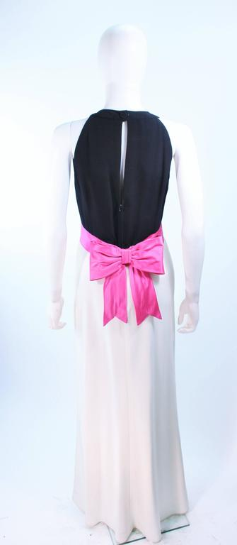 ELIZABETH ARDEN Black Pink Cream Gown with Satin Bow Bias Skirt Size 8  For Sale 3