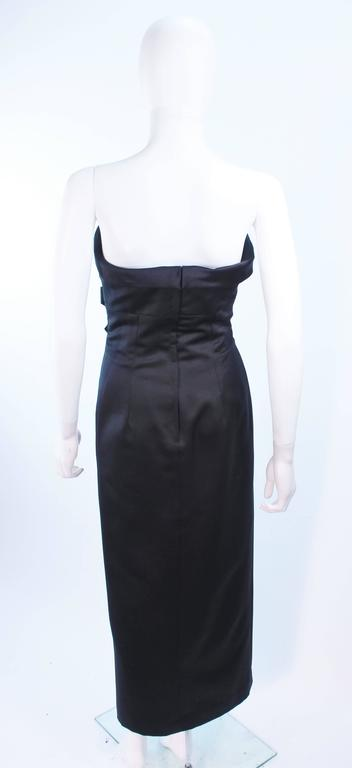 VICTOR COSTA Black Satin Gown with Side Bow Detail Size 6 8 For Sale 5