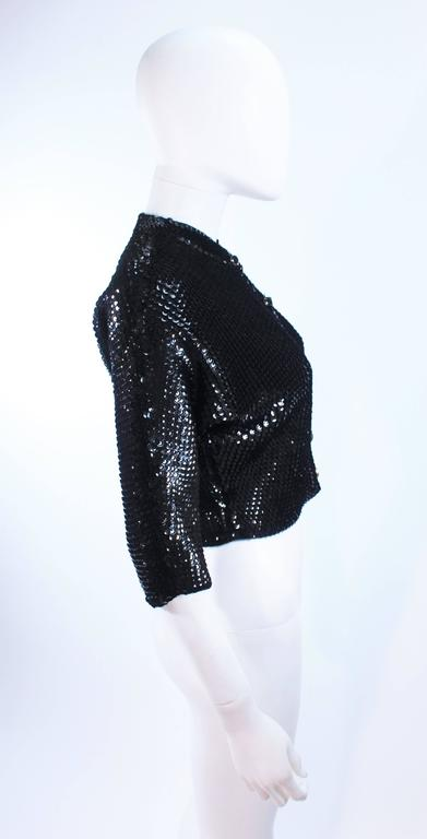 1960's Black Sequin Wool Cardigan with Black Faceted Buttons Size 4 7