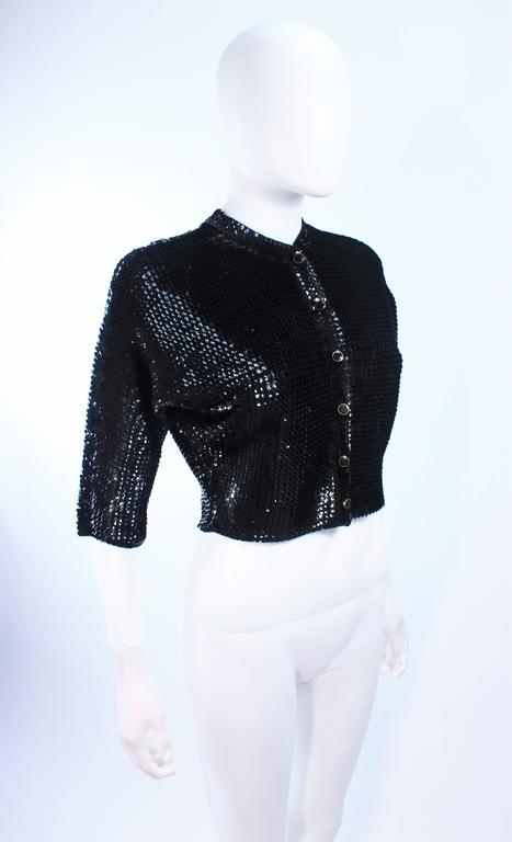 1960's Black Sequin Wool Cardigan with Black Faceted Buttons Size 4 4