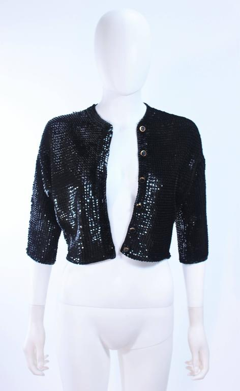 1960's Black Sequin Wool Cardigan with Black Faceted Buttons Size 4 8