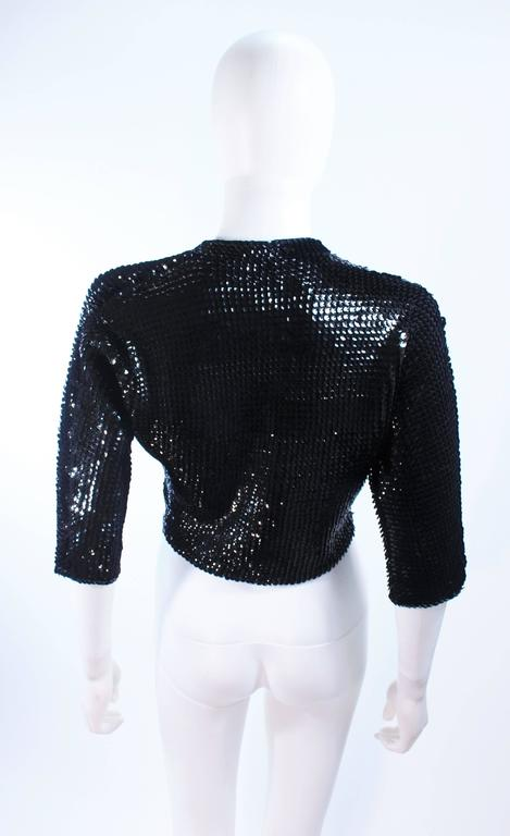 1960's Black Sequin Wool Cardigan with Black Faceted Buttons Size 4 9