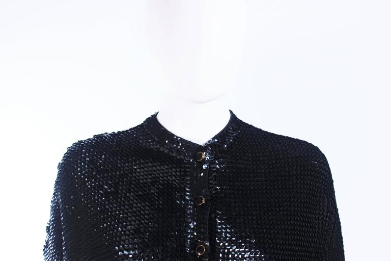1960's Black Sequin Wool Cardigan with Black Faceted Buttons Size 4 In Excellent Condition For Sale In Los Angeles, CA