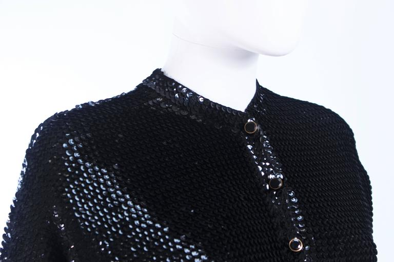 1960's Black Sequin Wool Cardigan with Black Faceted Buttons Size 4 6