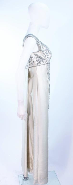 LILLIE RUBIN 1960's Off White Raw Silk Gown with Rhinestone Embellishment Size 4 For Sale 3