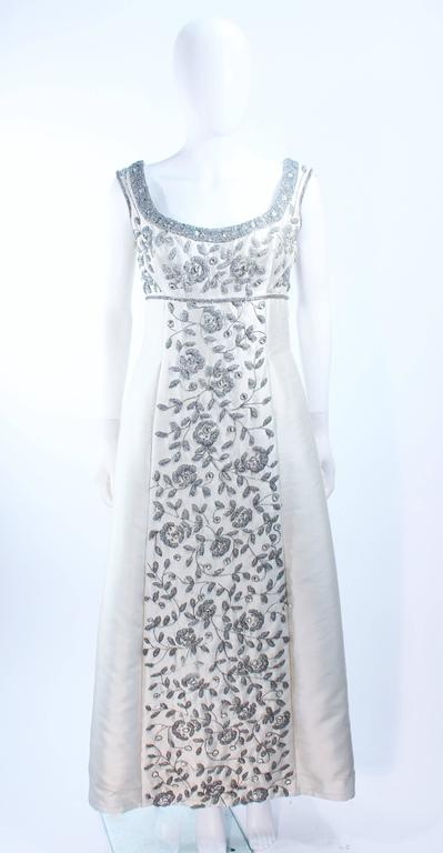 Gray LILLIE RUBIN 1960's Off White Raw Silk Gown with Rhinestone Embellishment Size 4 For Sale