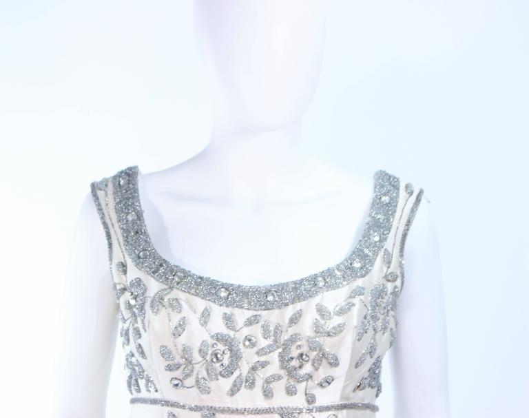 Women's LILLIE RUBIN 1960's Off White Raw Silk Gown with Rhinestone Embellishment Size 4 For Sale