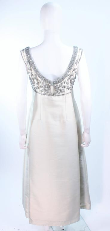 LILLIE RUBIN 1960's Off White Raw Silk Gown with Rhinestone Embellishment Size 4 For Sale 4