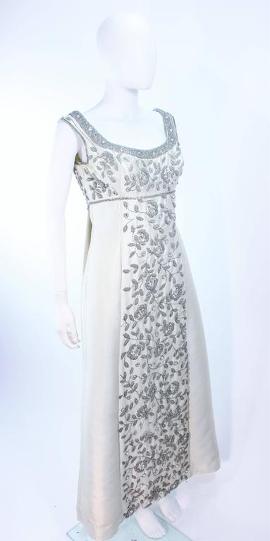LILLIE RUBIN 1960's Off White Raw Silk Gown with Rhinestone Embellishment Size 4 For Sale 1