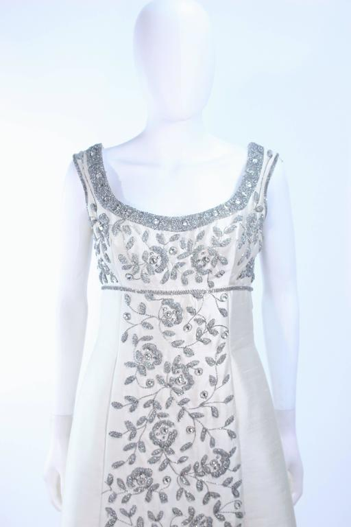 LILLIE RUBIN 1960's Off White Raw Silk Gown with Rhinestone Embellishment Size 4 In Excellent Condition For Sale In Los Angeles, CA