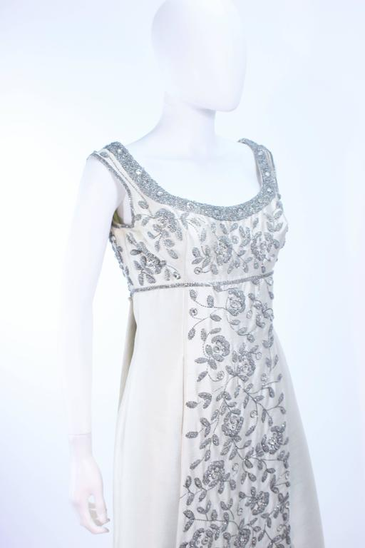 LILLIE RUBIN 1960's Off White Raw Silk Gown with Rhinestone Embellishment Size 4 For Sale 2