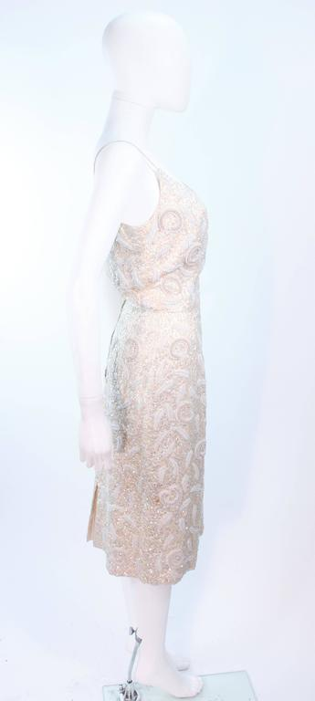 SWEE LO HAUTE COUTURE INTERNATIONAL Ivory Iridescent Cocktail Dress Size 8 10 For Sale 3