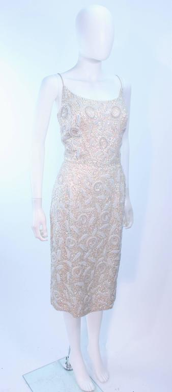 SWEE LO HAUTE COUTURE INTERNATIONAL Ivory Iridescent Cocktail Dress Size 8 10 For Sale 1