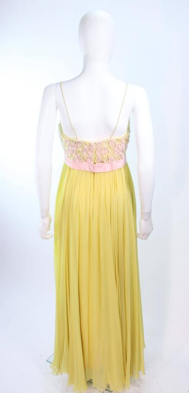 VICTORIA ROYAL Embellished Yellow Silk Gown Size 4 For Sale 3
