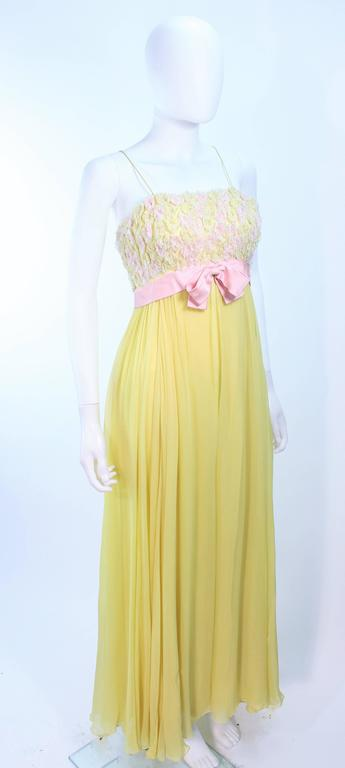 VICTORIA ROYAL Embellished Yellow Silk Gown Size 4 In Excellent Condition For Sale In Los Angeles, CA