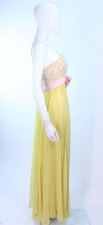 VICTORIA ROYAL Embellished Yellow Silk Gown Size 4 For Sale 2
