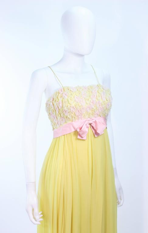 Women's VICTORIA ROYAL Embellished Yellow Silk Gown Size 4 For Sale