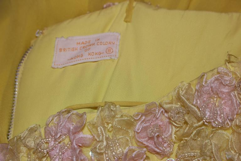VICTORIA ROYAL Embellished Yellow Silk Gown Size 4 For Sale 4