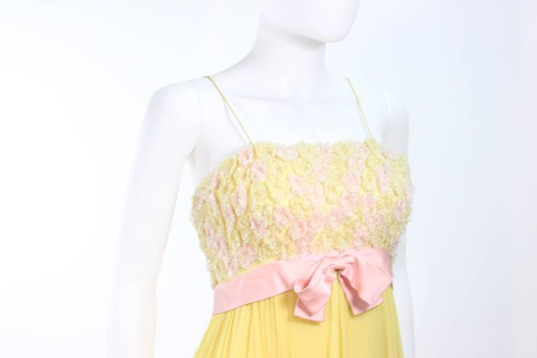 VICTORIA ROYAL Embellished Yellow Silk Gown Size 4 6