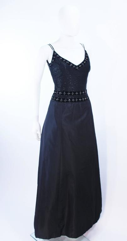 BADLEY MISCHKA Black Satin Beaded Gown with Rhinestone Accents Size 4  5