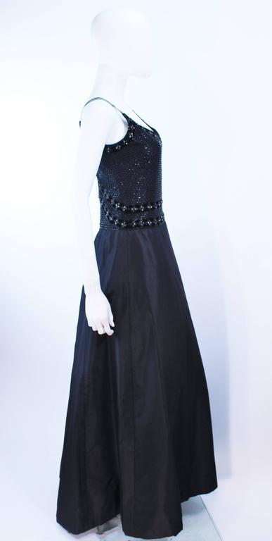 BADLEY MISCHKA Black Satin Beaded Gown with Rhinestone Accents Size 4  8