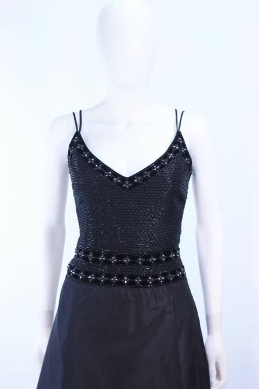 BADLEY MISCHKA Black Satin Beaded Gown with Rhinestone Accents Size 4  3