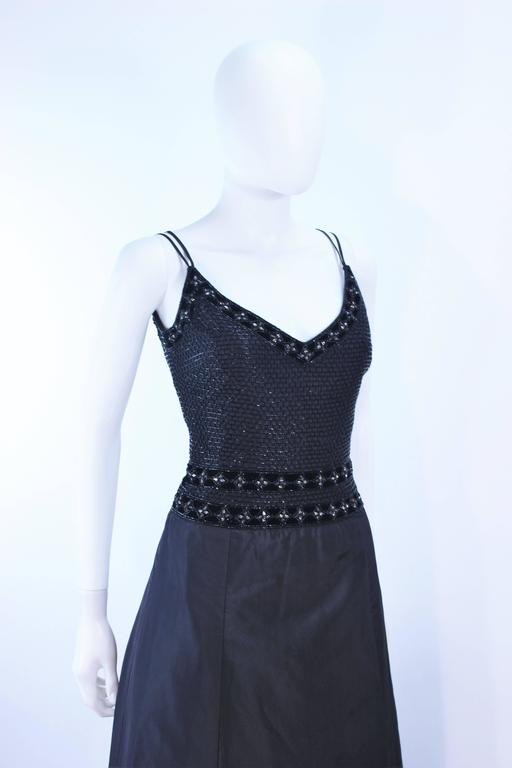 BADLEY MISCHKA Black Satin Beaded Gown with Rhinestone Accents Size 4  6