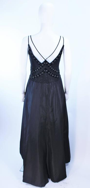 BADLEY MISCHKA Black Satin Beaded Gown with Rhinestone Accents Size 4  9