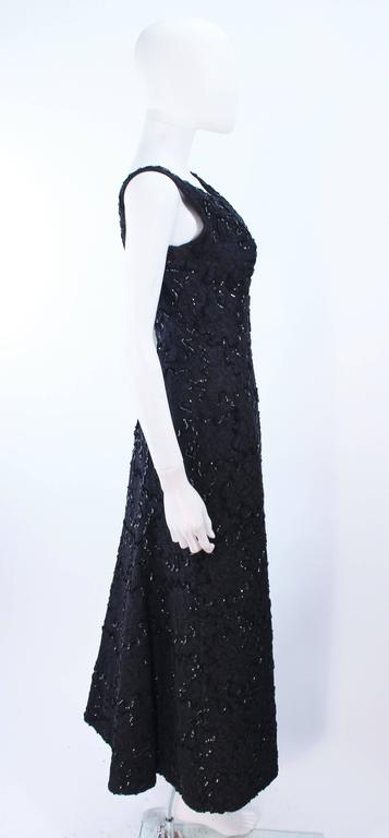 Vintage 1960's Black Sequin Lace Gown Size 10 For Sale 4