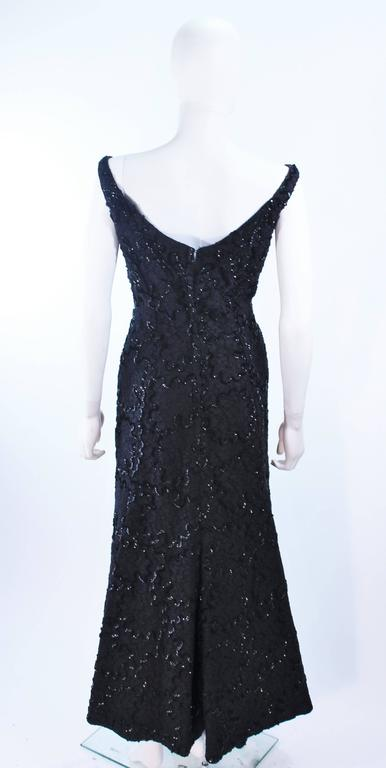 Vintage 1960's Black Sequin Lace Gown Size 10 For Sale 5