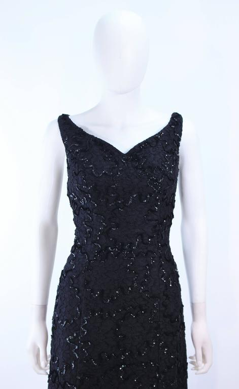 Vintage 1960's Black Sequin Lace Gown Size 10 In Excellent Condition For Sale In Los Angeles, CA