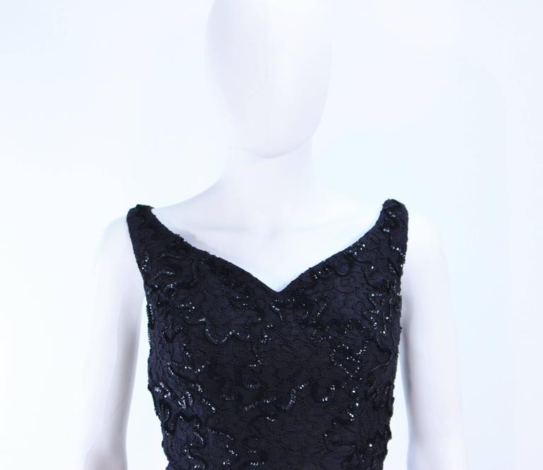 Women's Vintage 1960's Black Sequin Lace Gown Size 10 For Sale