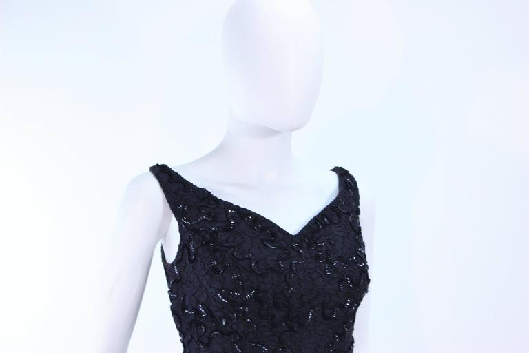 Vintage 1960's Black Sequin Lace Gown Size 10 For Sale 3