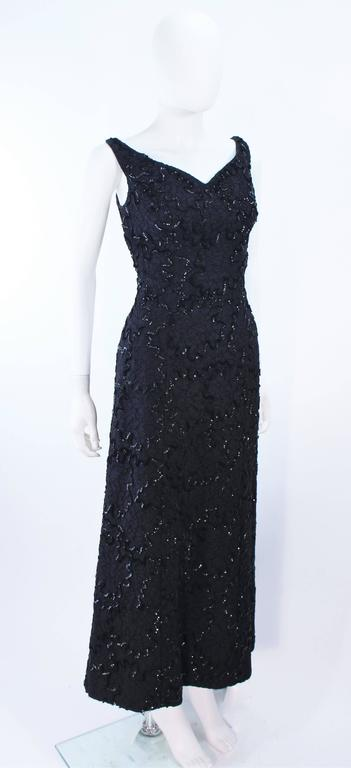 Vintage 1960's Black Sequin Lace Gown Size 10 For Sale 1