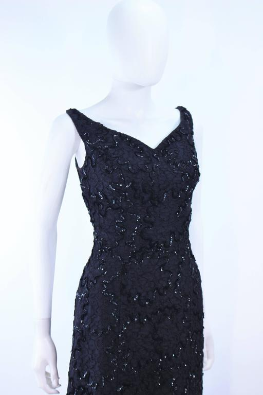 Vintage 1960's Black Sequin Lace Gown Size 10 6