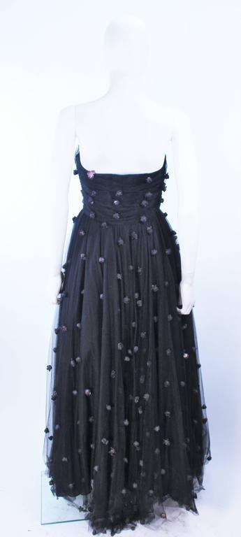 PAMELA DENNIS Attributed Black Mesh Gown with Rose Applique & Wrap Size 2 4 8