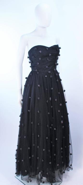 PAMELA DENNIS Attributed Black Mesh Gown with Rose Applique & Wrap Size 2 4 5